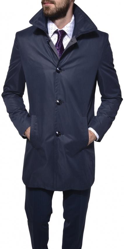 Tmavomodrý trenchový kabát