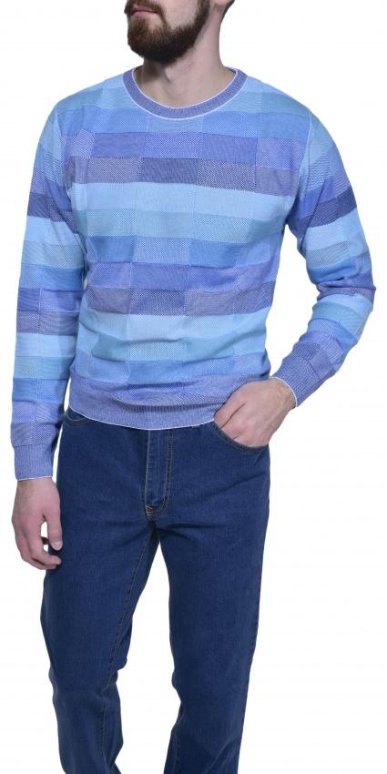 Bledomodrý károvaný pulóver