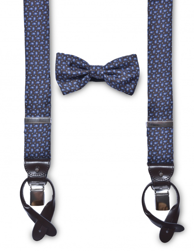 Silk suspenders and bow tie set
