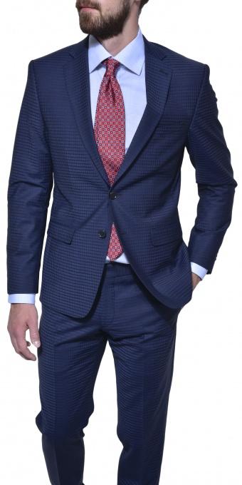 Tmavomodrý károvaný Ultra Slim Fit oblek