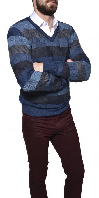 Károvaný vlnený pulóver