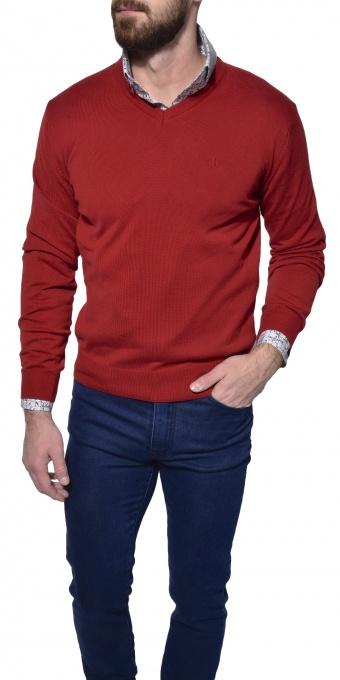 Červený bavlnený pulóver