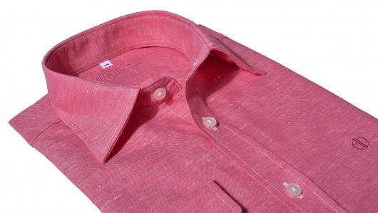 Tmavo ružová Extra Slim Fit ľanová košeľa