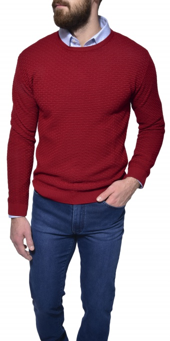 Burgundy patterned crewneck