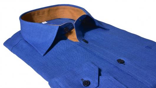 Tmavomodrá Extra Slim Fit ľanová košeľa