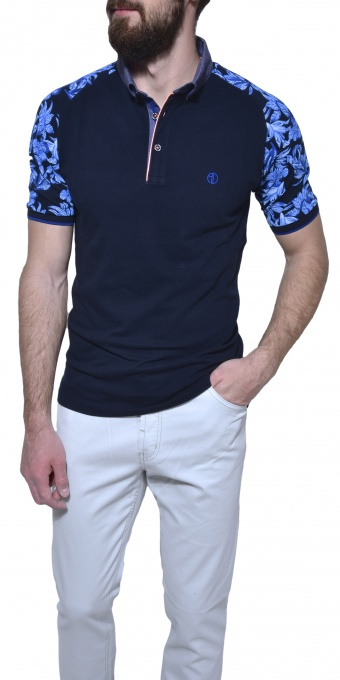 Dark blue piqué polo shirt