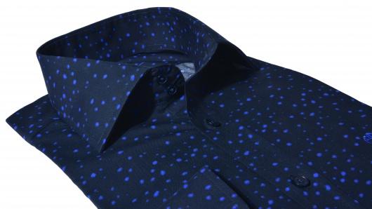Tmavomodorá Extra Slim Fit košeľa s printom