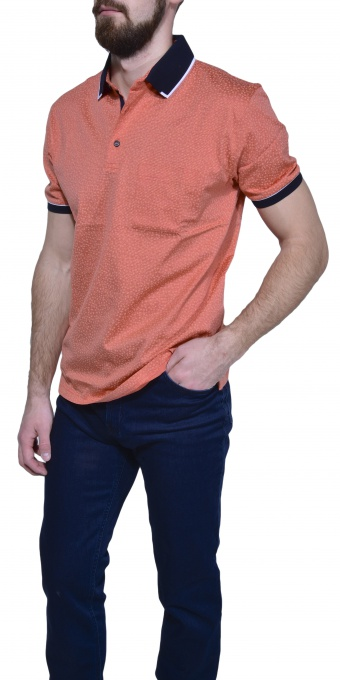 Orange polo shirt with a flower pattern