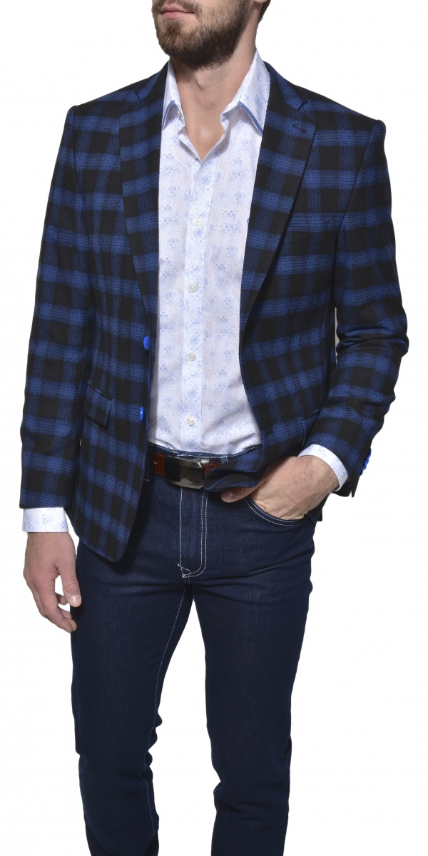 Dark blue checkered blazer