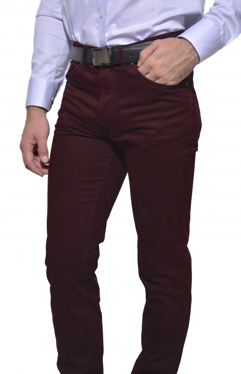 Burgundy casual five-pocket trousers