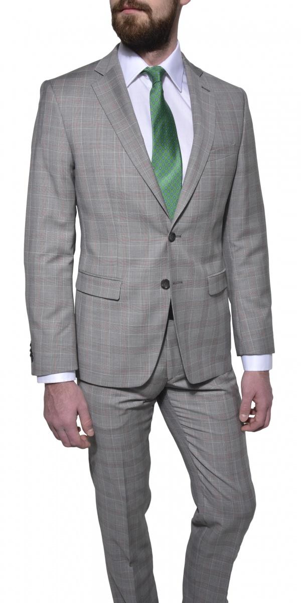 LIMITED EDITION Šedý károvaný oblek