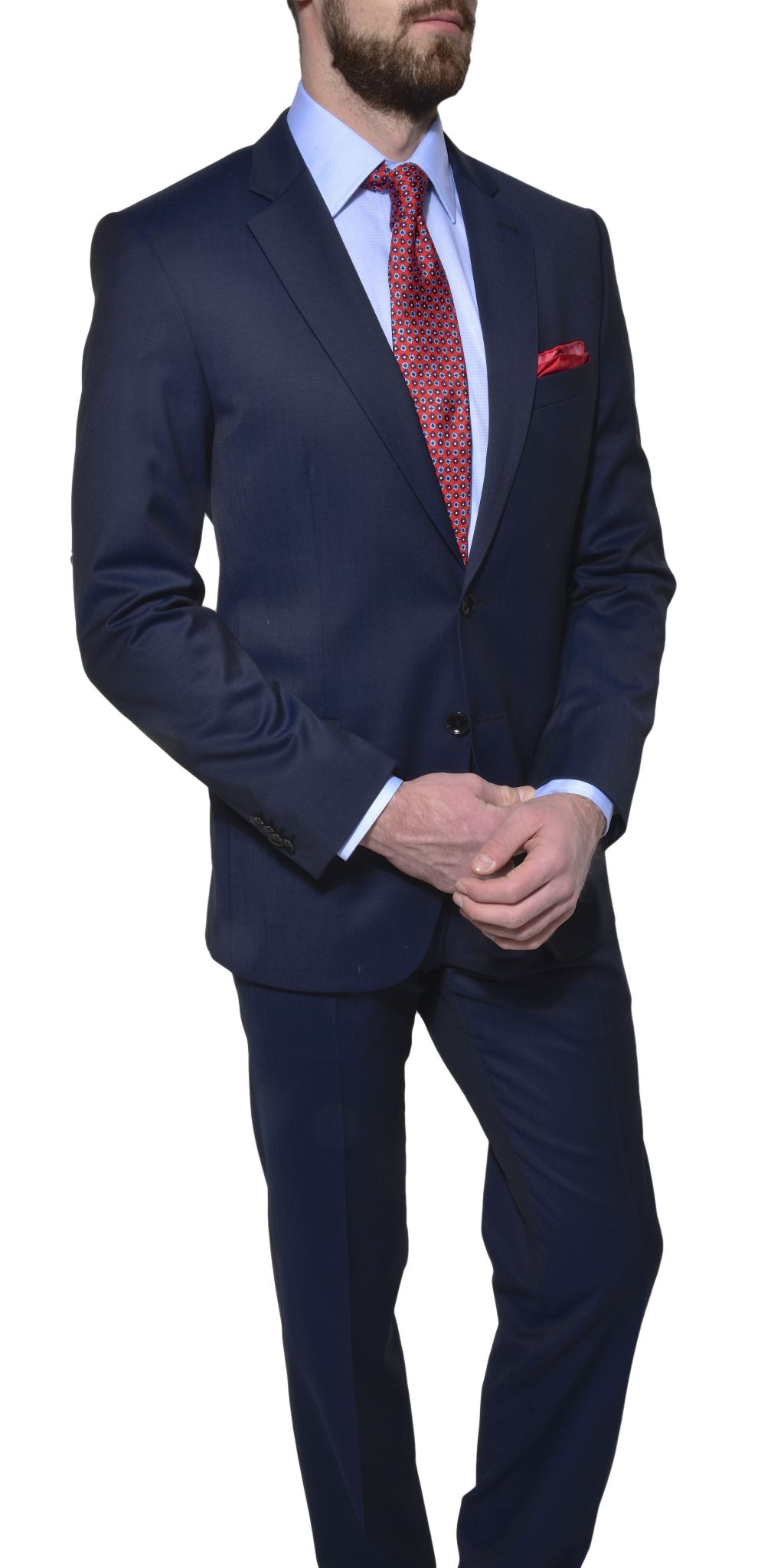 967026f5d3fd Tmavomodrý vlnený Slim Fit oblek - Obleky - E-shop