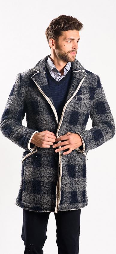 Checkered shearling coat