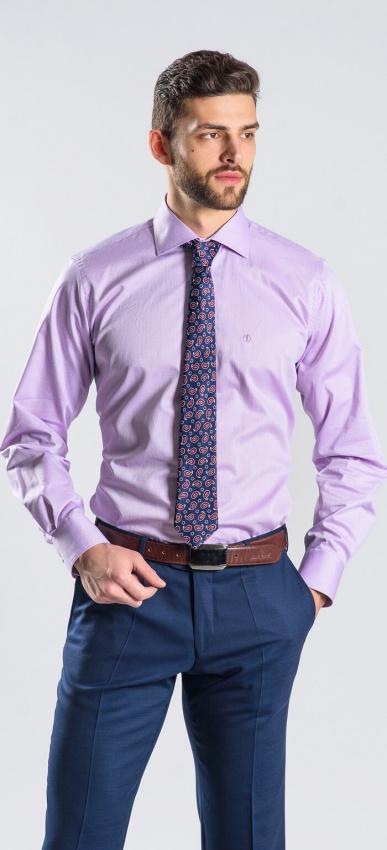 Fialová Slim Fit business košeľa