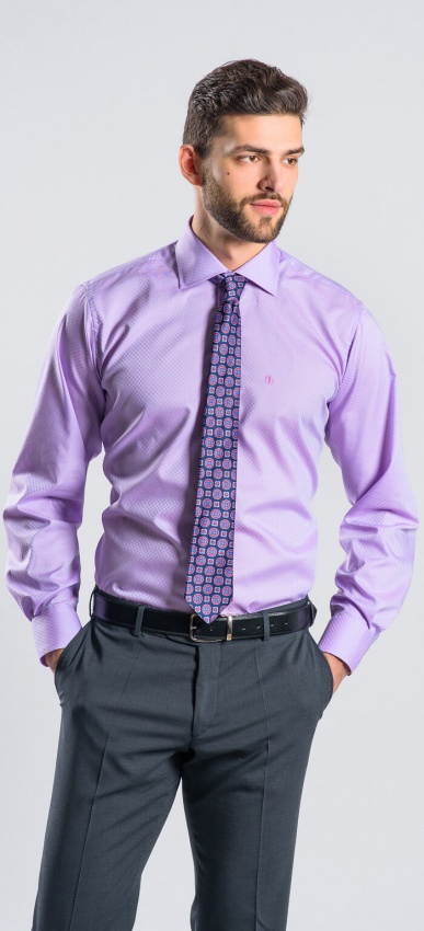 Fialová Slim Fit košeľa rady Basic