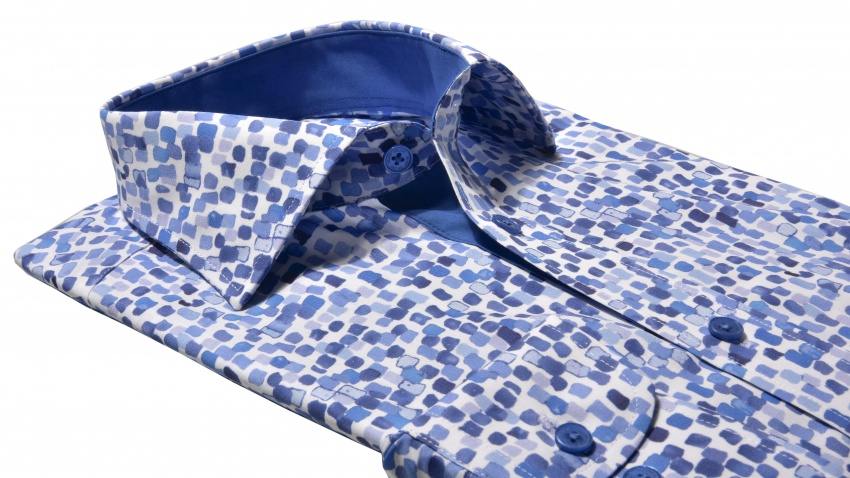 Modrá Slim Fit košeľa s printovým vzorom