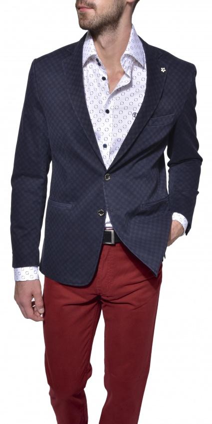 Tmavomodré bavlnené sako