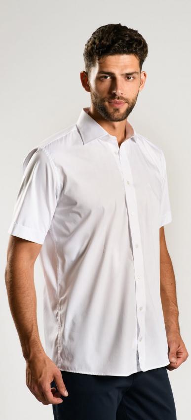 Biela Classic Fit košeľa s krátkym rukávom