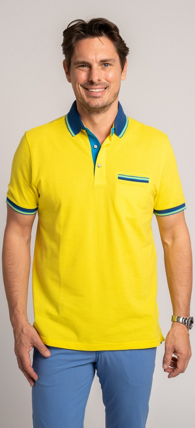 Žltá bavlnená polokošeľa