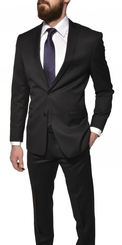 Čierny Slim Fit vlnený oblek