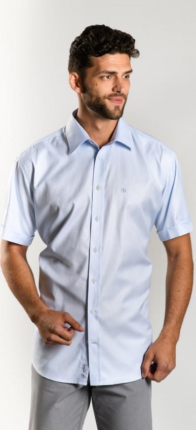Light blue Classic Fit short sleeved shirt