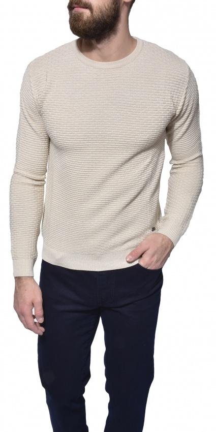 Béžový vzorovaný pulóver