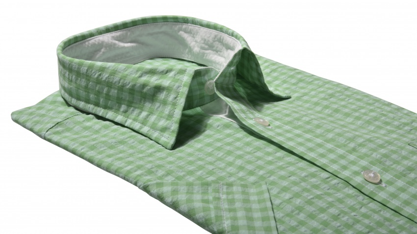 Green checkered Slim Fit short sleeved shirt