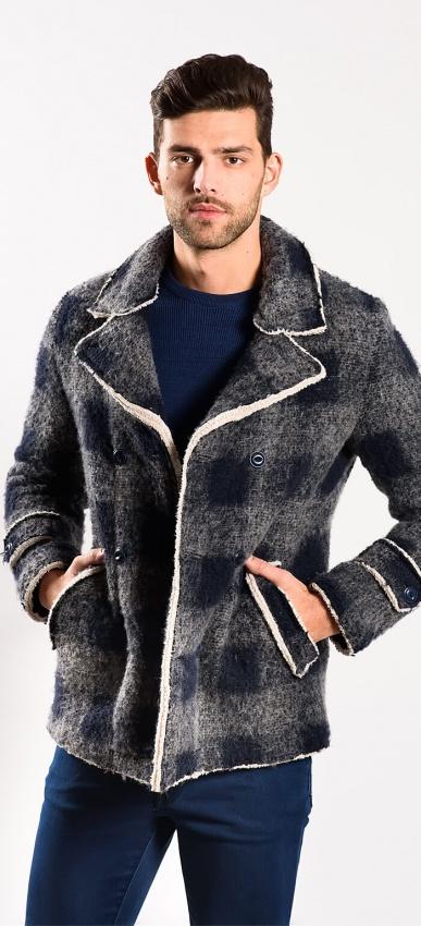 Checkered shearling jacket