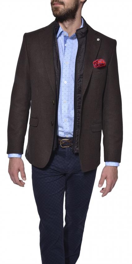 Hnedé jesenné vlnené sako