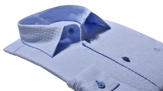 Blue Slim Fit crepe shirt