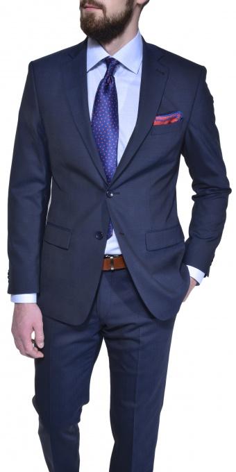 Tmavomodrý károvaný Slim Fit oblek