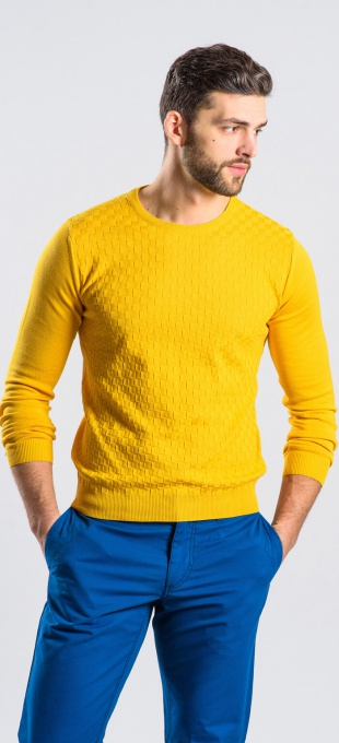 Žltý bavlnený pulóver