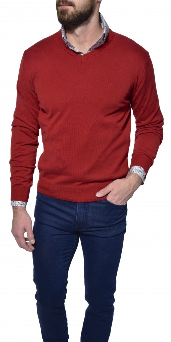 Red cotton v-neck