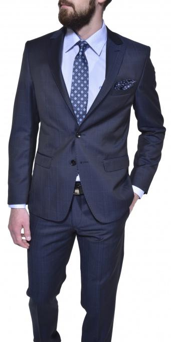 Tmavomodrý károvaný vlnený oblek