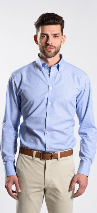 Modrá voľnočasová Classic Fit košeľa