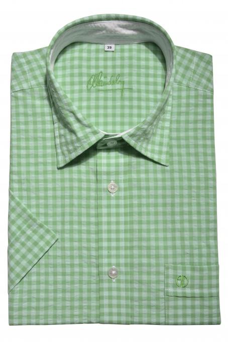 Green checkered Slim Fit short sleeved shirt