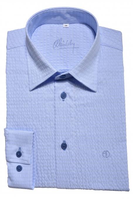 Modrá Slim Fit krepová košeľa