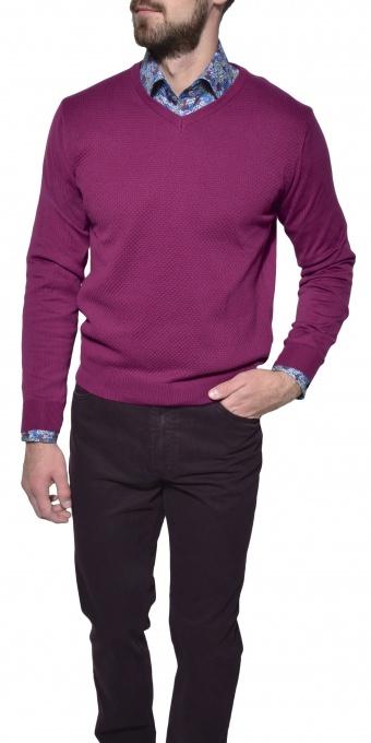 Fialový bavlnený pulóver