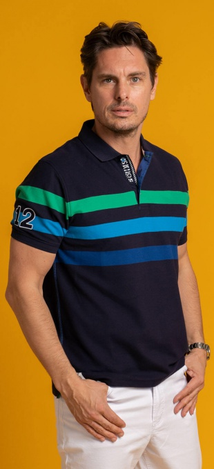 Dark blue cotton polo
