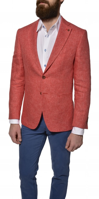 Strawberry linen blazer