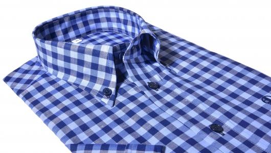 Modrá károvaná Slim Fit košeľa s krátkym rukávom