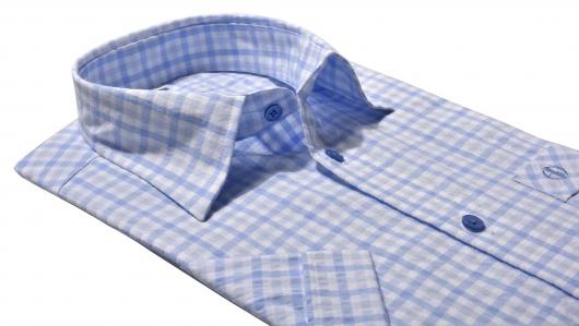 Modrá krepová Slim Fit košeľa s krátkym rukávom