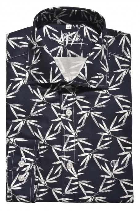 Tmavomodrá výrazná Extra Slim Fit košeľa