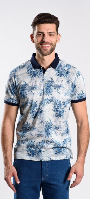 Blue patterned polo shirt