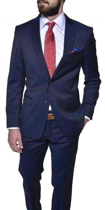 Tmavomodrý vlnený Slim Fit oblek