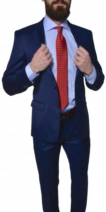 Modrý vlnený Slim Fit oblek