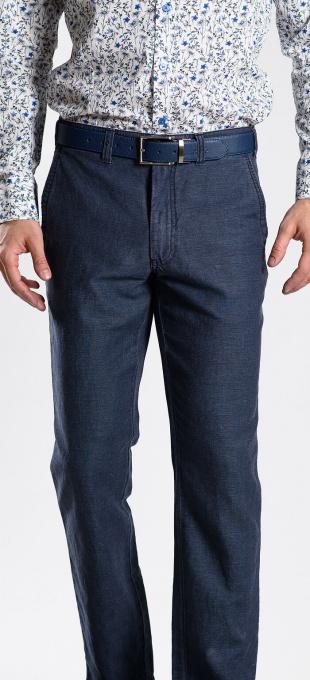 Šedomodré ľanové nohavice