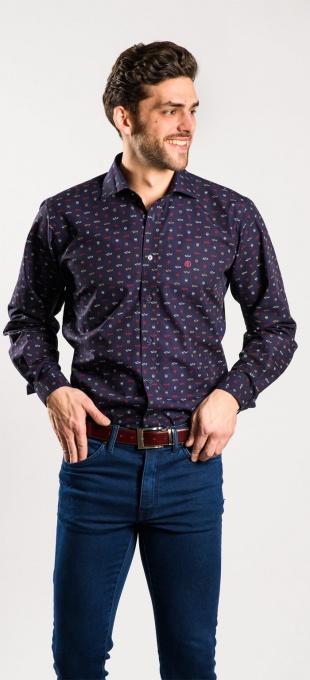 Tmavomodrá Extra Slim Fit košeľa s printom
