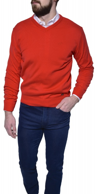 Red cotton v-neck