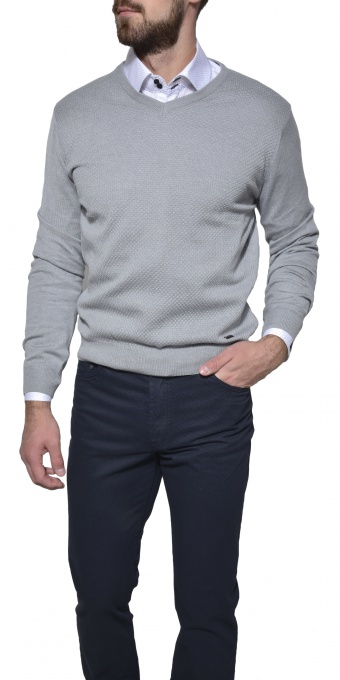 Šedý bavlnený pulóver